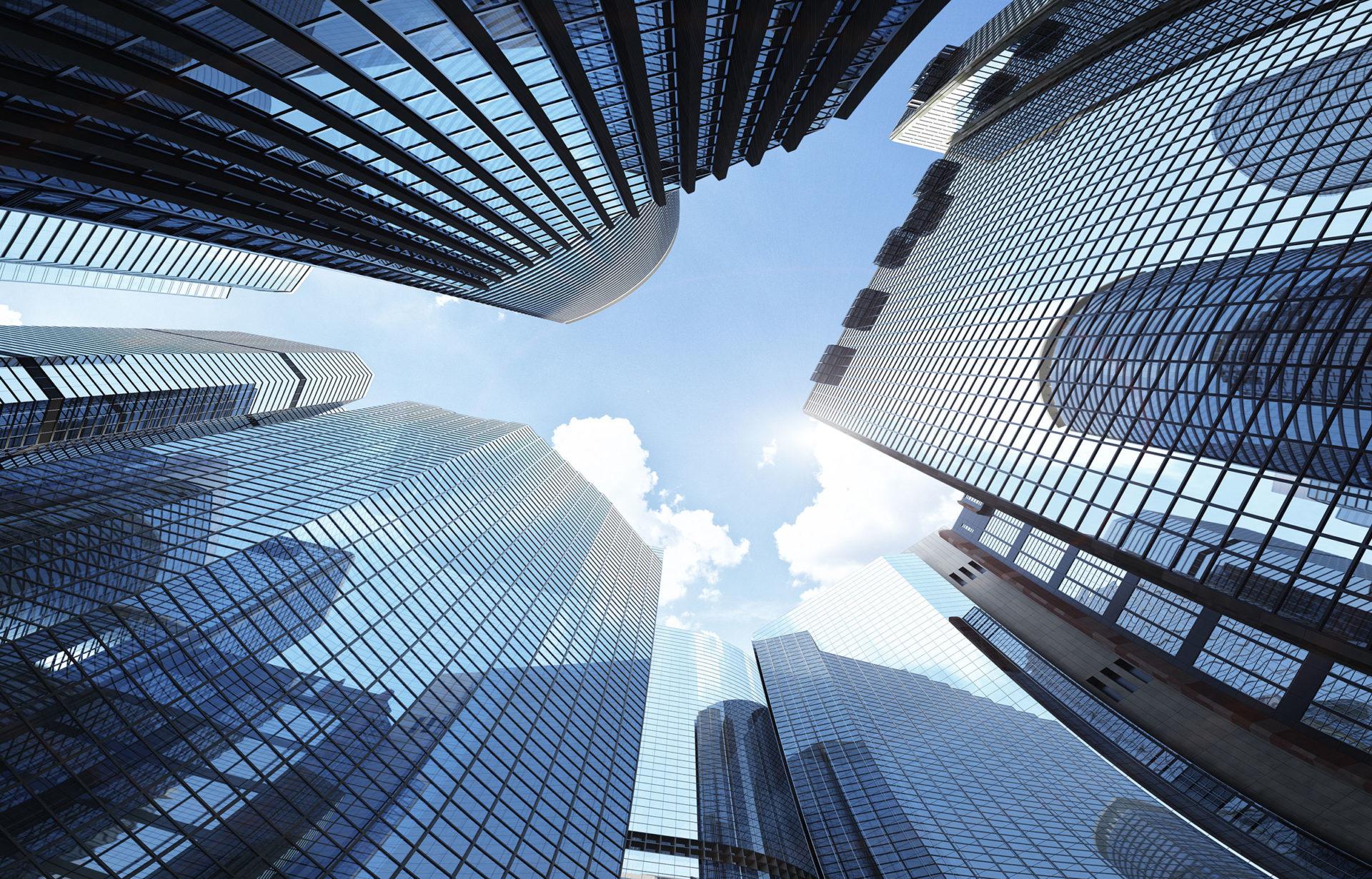 Skyscraper, Wolken und der Himmel sind ein Sinnbild für Internationalität und Multikulturelles.
